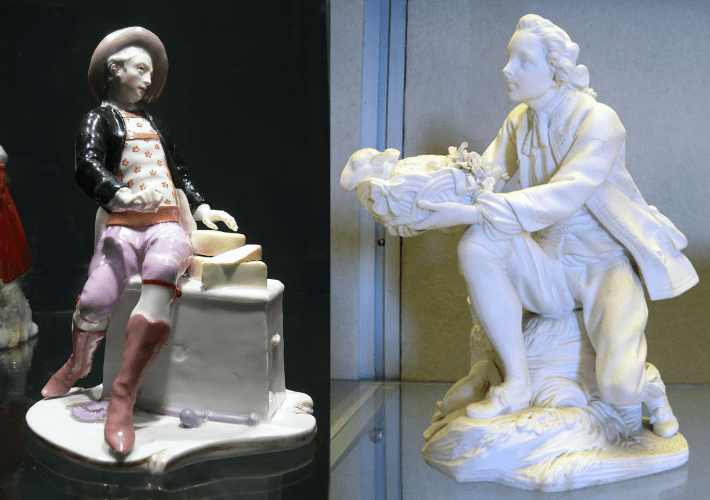 Porcelain cheese seller figure by Bustelli, together with a white porcelain figure of a man by the Sevres factory