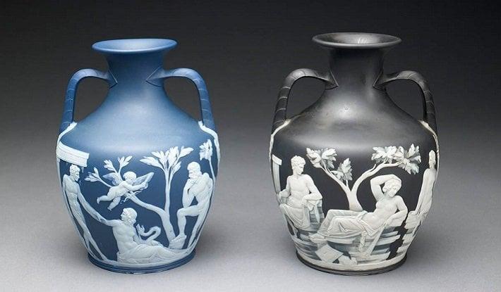 neoclassical vase wedgwood portland jasperware