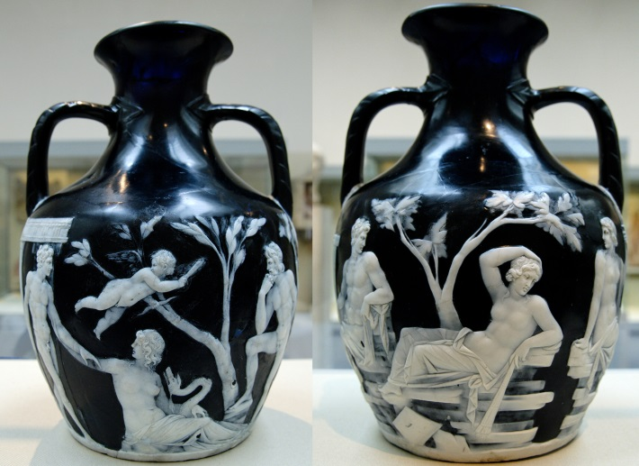 Front and back view of the Portland Vase, on display at the British Museum