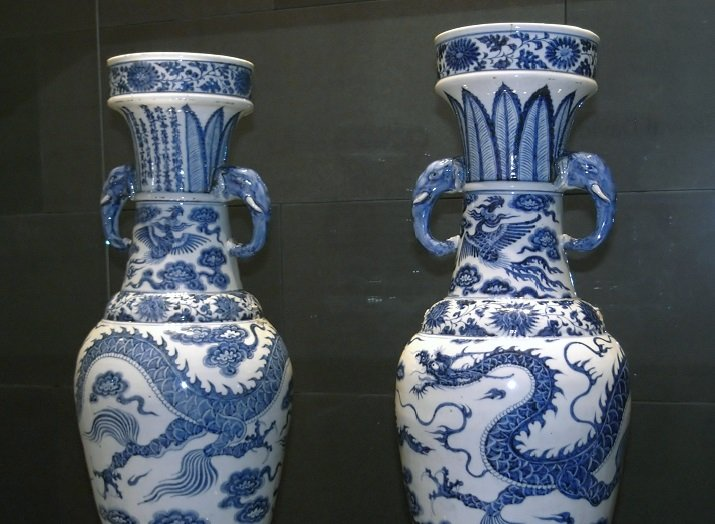 Pair of Ming Dynasty blue and white vases