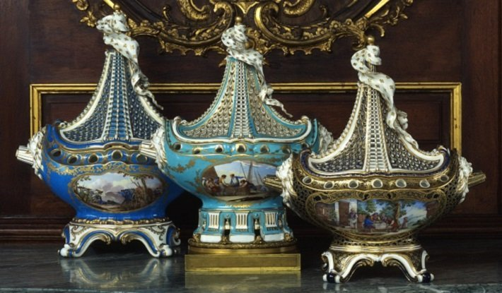 Sevres porcelain ship garniture set
