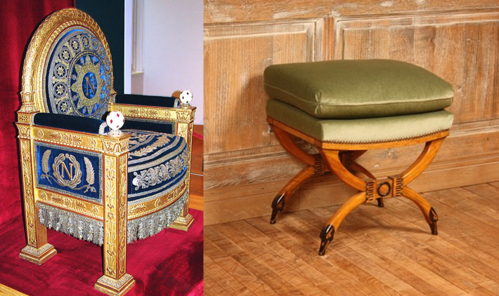 Throne of Napoleon and Klismos Chair with Swans