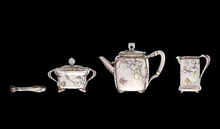 Tiffany's 'mixed metal' silver and hardstone tea service