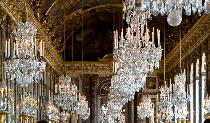 Crystal chandeliers in Hall of Mirrors, Versailles