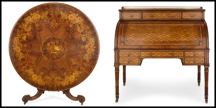 Victorian marquetry table and Victorian parquetry desk