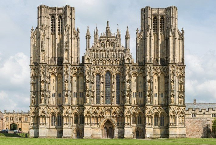 Wells Cathedral facade in the gothic style