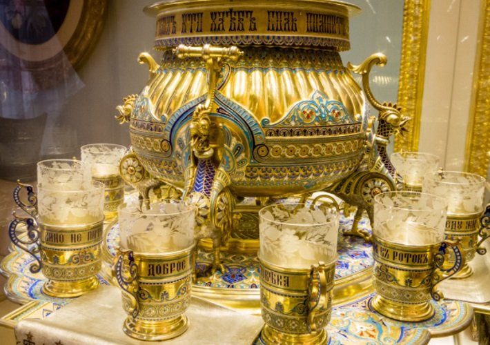 Silver gilt Faberge samovar made for the Romanov Family