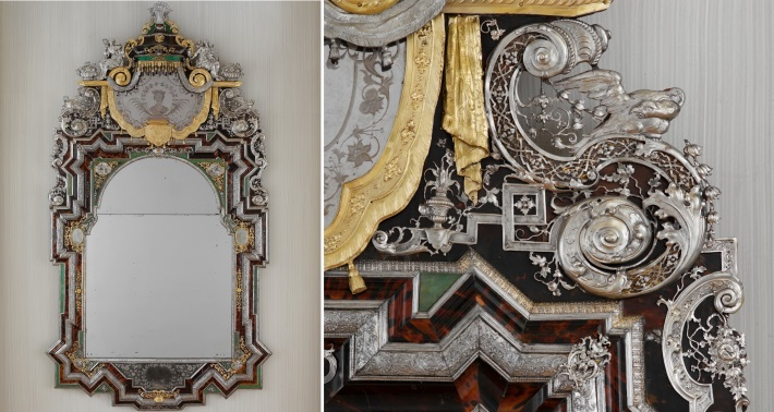 Augsburg silver, silver gilt and toirtoiseshell mirror