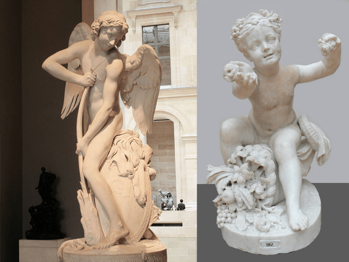 Cupid Carving Darts of Love, with Genius of Abundance, both by Edme Bouchardon