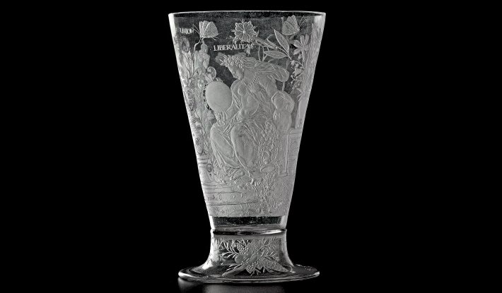 Engraved glass Goblet by Lehmann from 1605