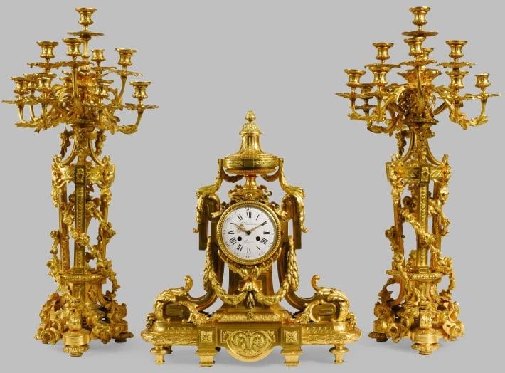 ferdinand barbedienne louis xvi ormolu clock set