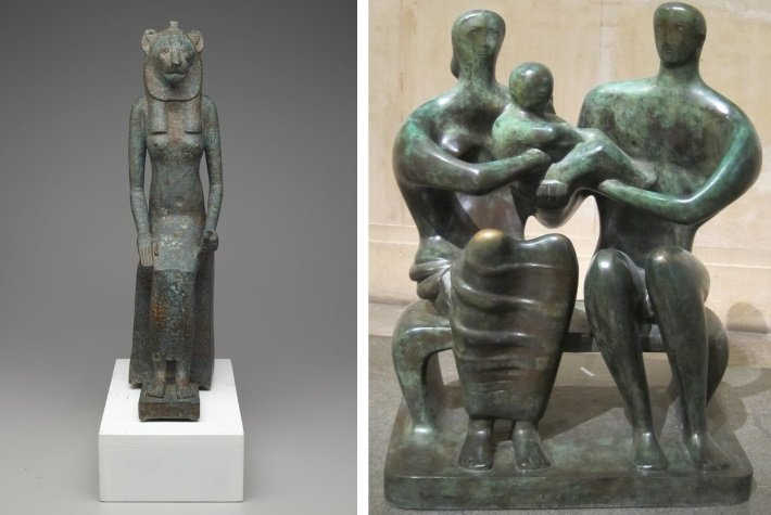 Ancient Egyptian seated Wadjet with Henry Moore's Family Group