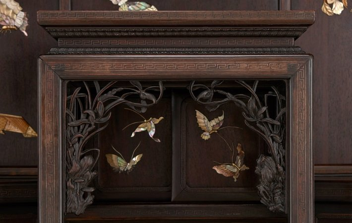 Japanese ivory and mother-of-pearl inlaid hardwood cabinet