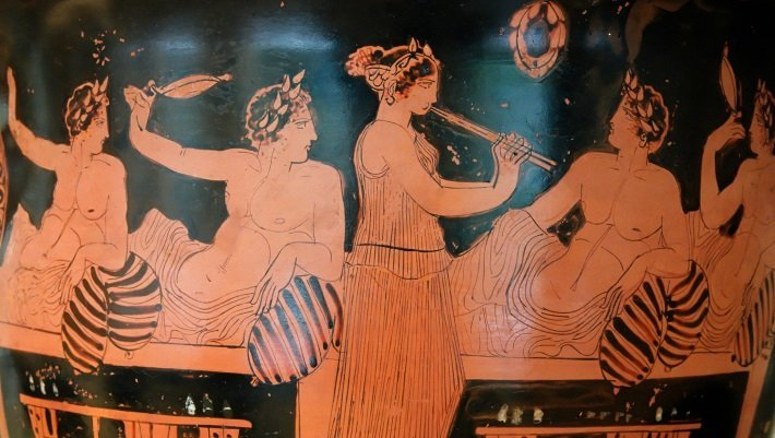 Ancient Greek krater, depicting symposium