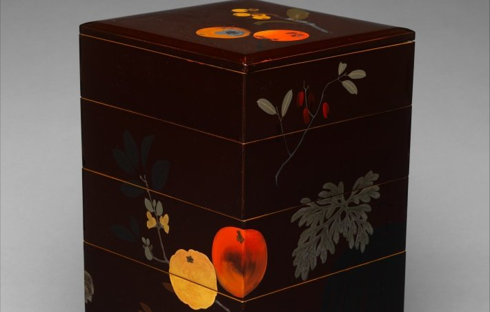 Top half of a tiered lacquer food box by Shibata Zeshin