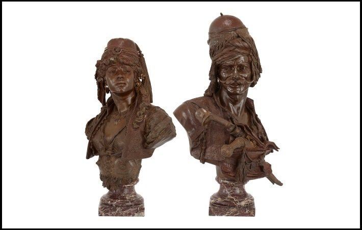 Pair of Orientalist busts by Guillemin