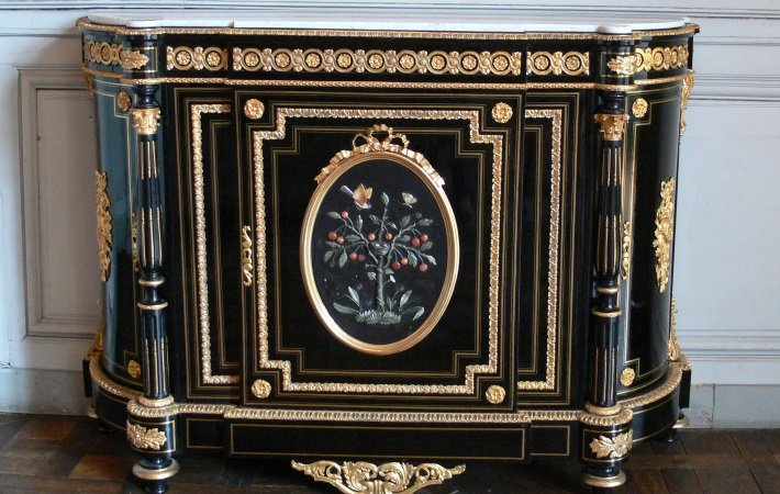 A large pietra dura cabinet in Compiegne, France