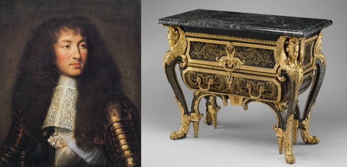 Louis XIV portrait with louis xiv style commode by andre charles boulle