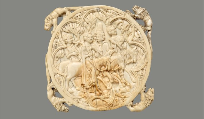 Medieval ivory hand mirror, 14th Century