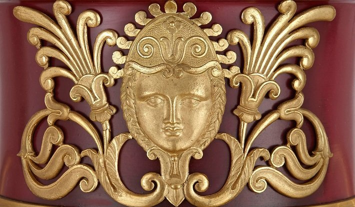 Detail of an ormolu mount on an antique Russian metal vase