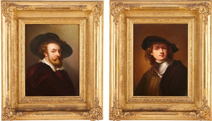 Pair of KPM porcelain plaques depicting portraits after Rubens and Rembrandt, 19th Century
