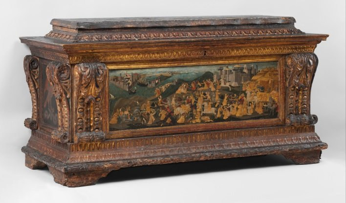 italian renaissance chest depicting conquest of trebizond