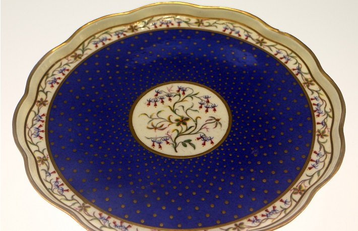 Porcelain tray in Sevres blue
