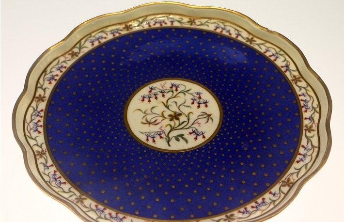 Porcelain tray in Sevres blue